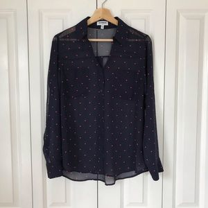Express • Heart Print Portofino Shirt